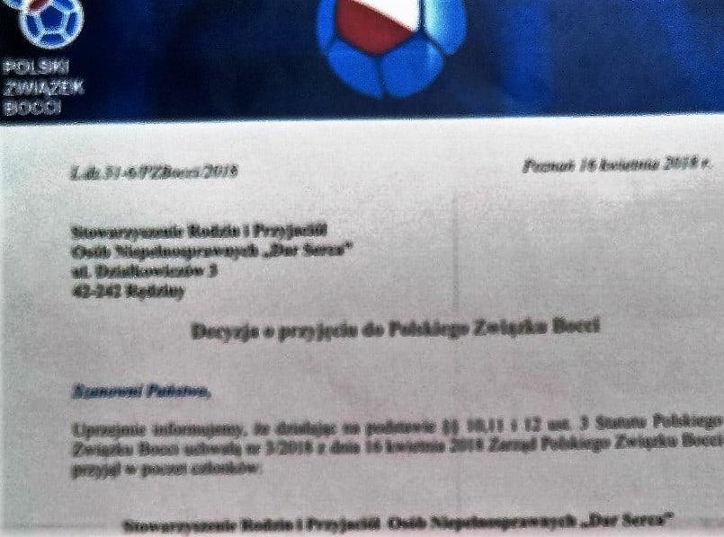 Przystąpiliśmy do Polskiego Związku Bocci